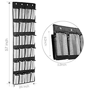 Large Sturdy Shoes Storage Over the Door Shoe Organizer,Over Door Shoe Rack with 24 Hanging Mesh Pockets,Heavy Duty Door Hanging Storage with 4 Steel Door Hooks