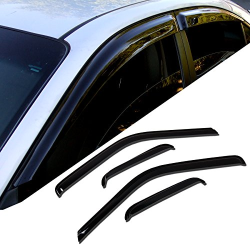 TuningPros WD-696 Tinted Smoke Out-Channel Window Visor Deflector Rain Guard 4-pc Set by TuningPros