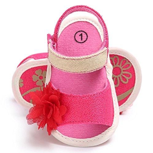 Bebé Prewalker Zapatos Auxma Niña Moda Verano Soft Sole Sandalias Zapatos para niños Zapatos antideslizantes para bebés Flor Princesa Zapatos para 3-6 6-12 12-18 meses Rojo