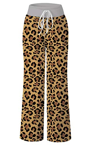RAISEVERN Women's Casual Pajamas Pants Brown Leopard Summer Wide Leg Palazzo Lounge Pants High Waisted Drawstring Comfy Sleepwear Trousers Pyjamas ()