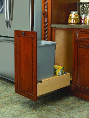 (Rev-A-Shelf 4WCBM-1550DM-1 Single 50 quart Waste Container - Wood - Maple-Natural )