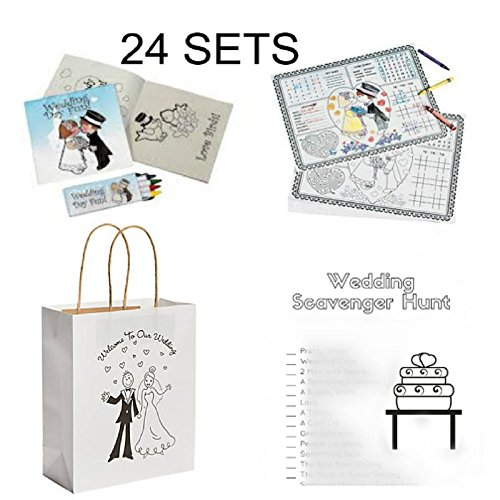 BizzyBecca Wedding Activities for Kids - Individually Packaged Wedding Coloring Books and Crayons, Wedding Favor Bags, Paper Wedding Childrens Activity Placemats and Scavenger Hunt Sheets by BizzyBecca
