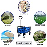 JAKAGO Collapsible Outdoor Utility Wagon Heavy Duty Folding Wagon Sturdy Garden Cart for Shopping Camping Beach Picnic with Adjustable Handle