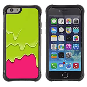 WAWU Funda Carcasa Bumper con Absorci??e Impactos y Anti-Ara??s Espalda Slim Rugged Armor -- green pink paint drips vibrant -- Apple Iphone 6 PLUS 5.5