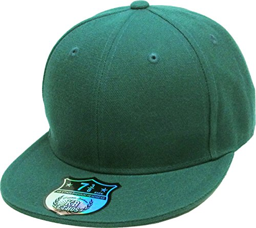 Baseball Accent - KBETHOS KNW-2364 HGN (7 3/8) The Real Original Fitted Flat-Bill Hats True-Fit, 9 Sizes & 20 Colors Hunter Green