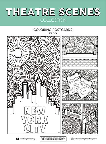 Theatre Scenes Coloring Postcards - Hand-drawn illustrations by Coloring Broadway. Printed on matte card stock. (5 x 7 - Set of 4)