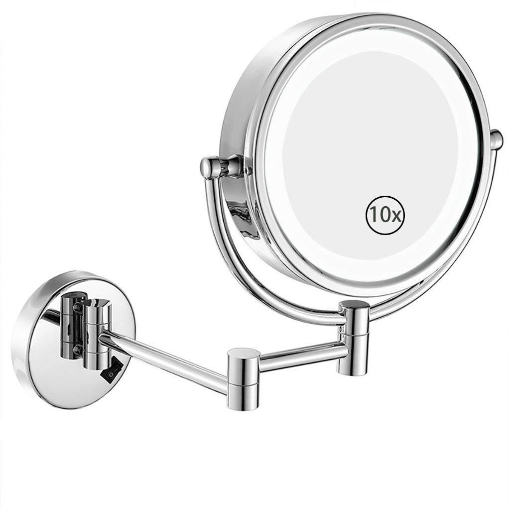 HHAOH Specchi da Parete per specchietti da Bagno - Specchio per Il Trucco 10x ingrandimenti Specchi da Toilette a LED, Doppia Faccia Girevole,Gold_8.5inch hhaoh.com