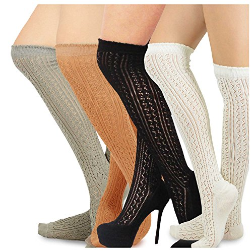 Teehee Women's Fashion Cotton Over The Knee Socks - 4 Pairs Pack (Pointelle Over The Knee Sock)