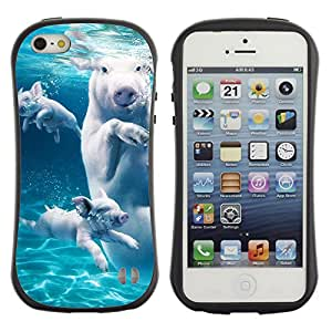 Hybrid Anti-Shock Bumper Case for Apple iPhone 5 5S / Swimming Pigs