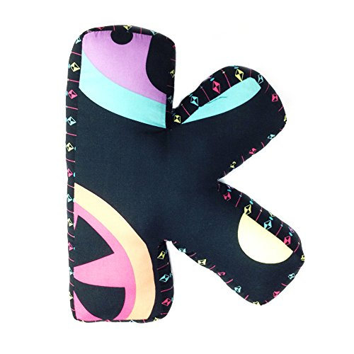 """One Grace Place Magical Michayla Letter Pillow """"K"""", Black, Purple and Turquoise"""