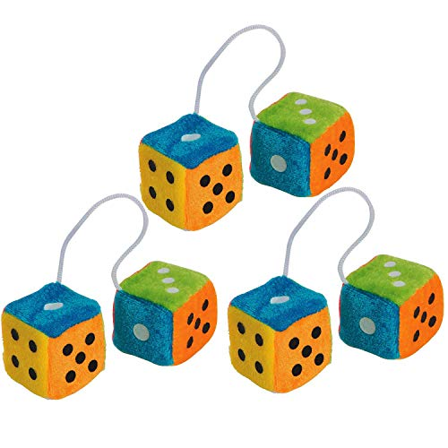 Mini Hanging Fuzzy Dice with Dots 1.75 Inches - 3 Pairs - Colorful Neon Plush Dice Toys - Fuzzy Dice for Car - for Kids and Adults, Great Party Favors, Bag Stuffers, Fun, Gift, Prize - by Kidsco