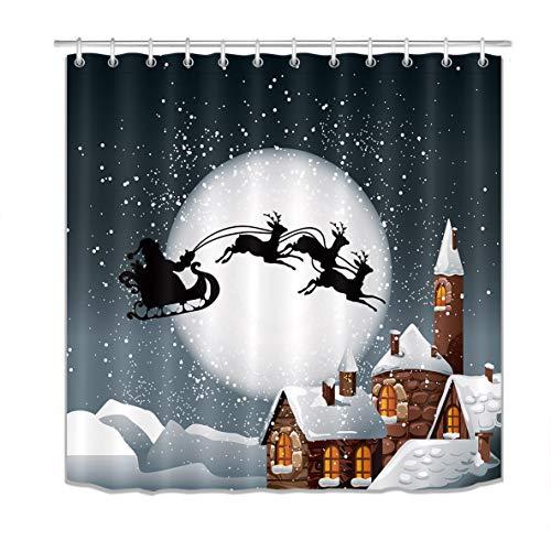 LB Merry Christmas Season Eve New Year Decorative Decor Gift Shower Curtain Polyester Fabric 72x72 inch Night Santa Claus Sleigh Chimney Silver Bathroom Bath Liner Set