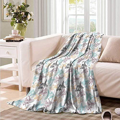 Oncegod Comfort Blanket Aquarium Goldfish and Perch Outline Sofa Warm Bed 93