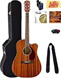Fender CD-140SCE Dreadnought Acoustic-Electric Guitar - All Mahogany Bundle with Hard Case, Tuner, Strap, Strings, Picks, Instructional DVD, Polishing Cloth