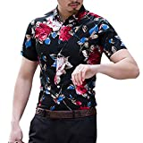 Men's Casual Flower Print Short Sleeve T-Shirt Tops, Turn-Down Collar Button-Down Beach Hawaiian Style Blouse Tee Shirt (Black, M)