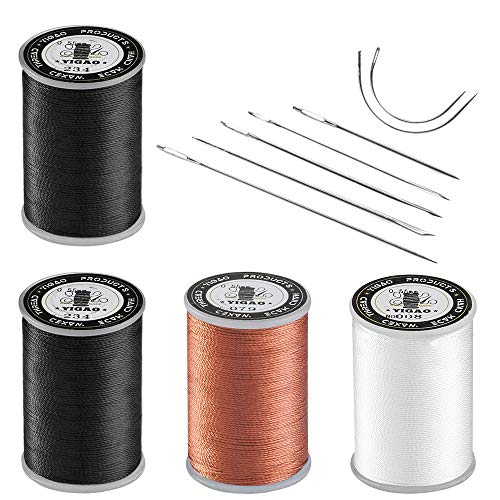 Upholstery Repair Kit, Hand Sewing Set of 11 Pcs Heavy Duty Household Hand Needles and Strong Upholstery Waxed Thread - 2 Black Spool, 1 Brown Spool, 1 White Spool, Large-Eye Stitching Needles for