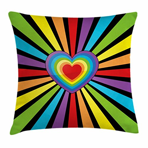 """Ambesonne Rainbow Throw Pillow Cushion Cover, Multiple Hearts Combined to Form a Bigger Heart with Symmetrical Striped Background, Decorative Square Accent Pillow Case, 20"""" X 20"""", Rainbow"""