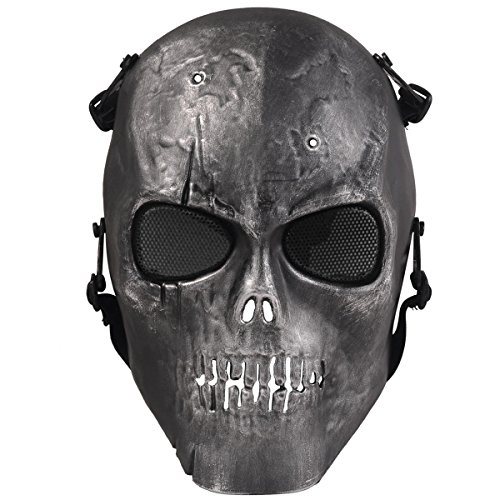 Army Skull Skeleton Airsoft Paintball Bb Gun Game Face Mask (Black & Silver)