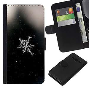Stuss Case / Funda Carcasa PU de Cuero - Espacio Negro copo de nieve Negro - Samsung Galaxy A3