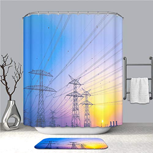 BEICICI Shower Curtain and Bath mat Rug Electrical for sale  Delivered anywhere in USA