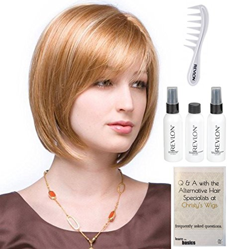 Bundle - 6 items: Codi Monofilament Wig by Amore, Christy's Wigs Q & A Booklet, Revlon Synthetic Styling Spray, Texturizing Cleanswer, Conditioner & Wide Tooth Comb - Color ICED MOCHA ()
