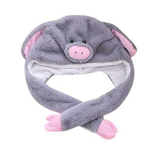 9eb5d40cc6b Animal Hat Plush Animal Hats Fun One Size Cap Fleece Lined Winter Warm  Adult Kids