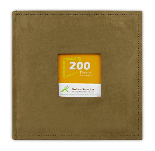 Golden State Art, Photo Album Brown Suede Cover, Holds 200 4x6 Pictures by Golden State Art