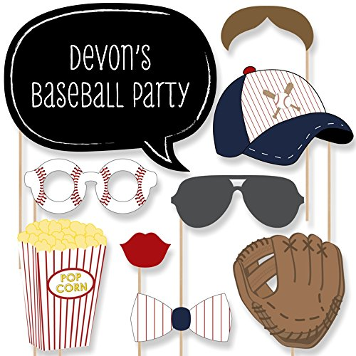 Big Dot of Happiness Custom Batter Up - Baseball Photo Booth Props - Little League Baseball Party Supplies for a Personalized Birthday Party or Baby Shower - 20 Selfie Props]()