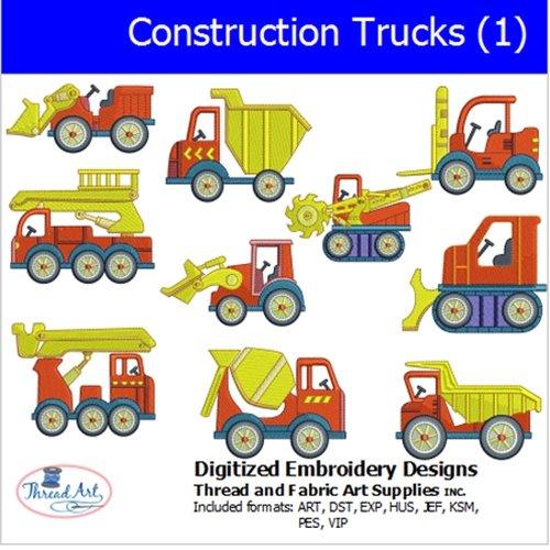 (Threadart Machine Embroidery Designs - Construction Trucks(1) - USB Stick)