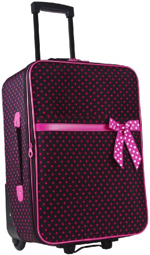 Ever Moda Black Pink Polka Dots 20 Inch Expandable Carry On Rolling Luggage Buy Online In Uae
