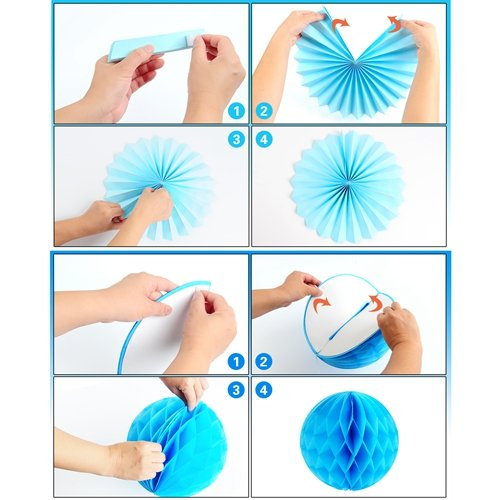 Premium baby shower decorations for boy Kit | It's a boy baby shower decorations with striped tablecloth, 2 banners, paper fans, and honeycomb balls | complete baby shower set for a beautiful baby boy by TeeMoo (Image #6)