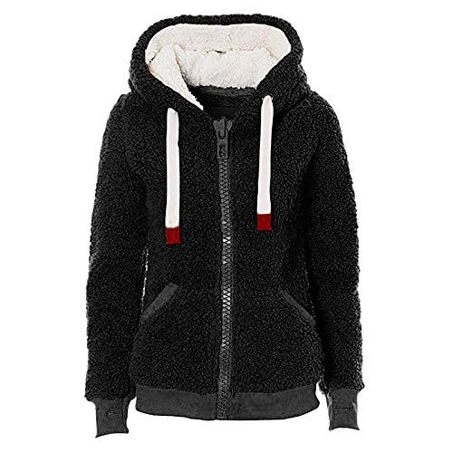 ket Coat,Soft Teddy Hooded Jumper Hoody with Pocket(Black,S) ()