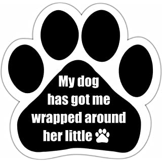 """My Dog Has Got Me Wrapped Around Her Little Paw"" Car Magnet With Unique Paw Shaped Design Measures 5.2 by 5.2 Inches Covered In UV Gloss For Weather Protection"