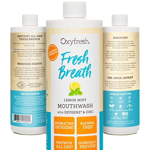 (Oxyfresh Lemon Mint Mouthwash - Oxygene & Zinc - 1 bottle 16oz- Alcohol Free Solution for Long-Lasting Fresh Breath & Dry Mouth Prevention Dye-Free, Gluten Free, Naturally Flavored with Essential Oils)
