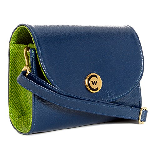 Gold Compliant Green Crossbody leather Blue Handbag Women Clutch Accents Stadium fTq1w8
