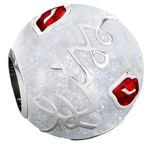 Authentic BELLA FASCINI - KISS Script Bead Charm - 925 Silver Red Lips on White Sparkle - Fits Bracelets -
