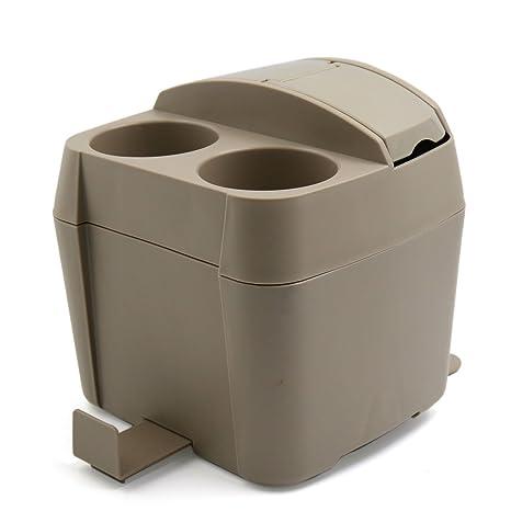 Uxcell Biege Plastic Car Trash Bin Garbage Storage Container Cup Tissue Box  Holder