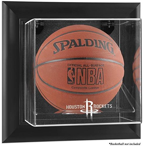 NBA Wall Mounted Basketball Display Case Frame Finish: Black, NBA Team: Houston Rockets