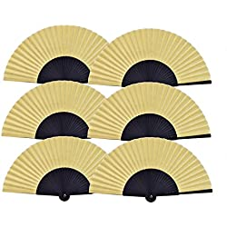 Salutto 6Pcs Folding Paper Hand Fan Bamboo Handheld Dancing Wedding Gift Party Home Office DIY Decor Yellow