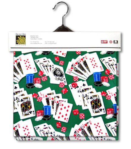 Poker Lined Fabric 1yd by 54 in Wide Casino Vegas Atlantic City Theme 100% Cotton Material Lined on Underside For Sewing Projects like Tablecloths, Tablecovers, Aprons - Top Rated Quality 22% more FABRIC than 44 in width