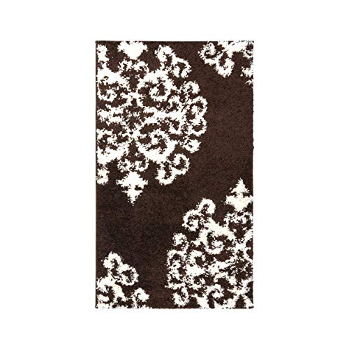 Blue Nile Mills Olesia Shag Area Rug, Super Soft, Extra-Thick Pile, Plush, Shabby-Chic, Industrial, Luxury, Retro Style, Jute Backing, Brown-White, 3 x 5