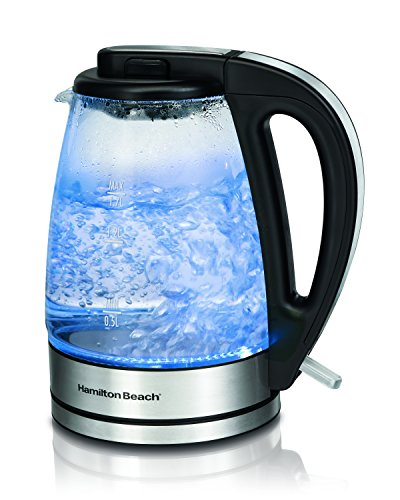 Hamilton Beach 40865 Glass Electric Kettle, 1.7-Liter, A, Brushed Metal