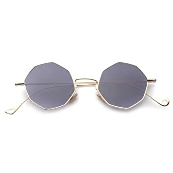 Z&YQ Lunettes de soleil géométrie symétrique octogonale vacances sauvages lunettes de soleil hommes et femmes , gold frame gradually fade