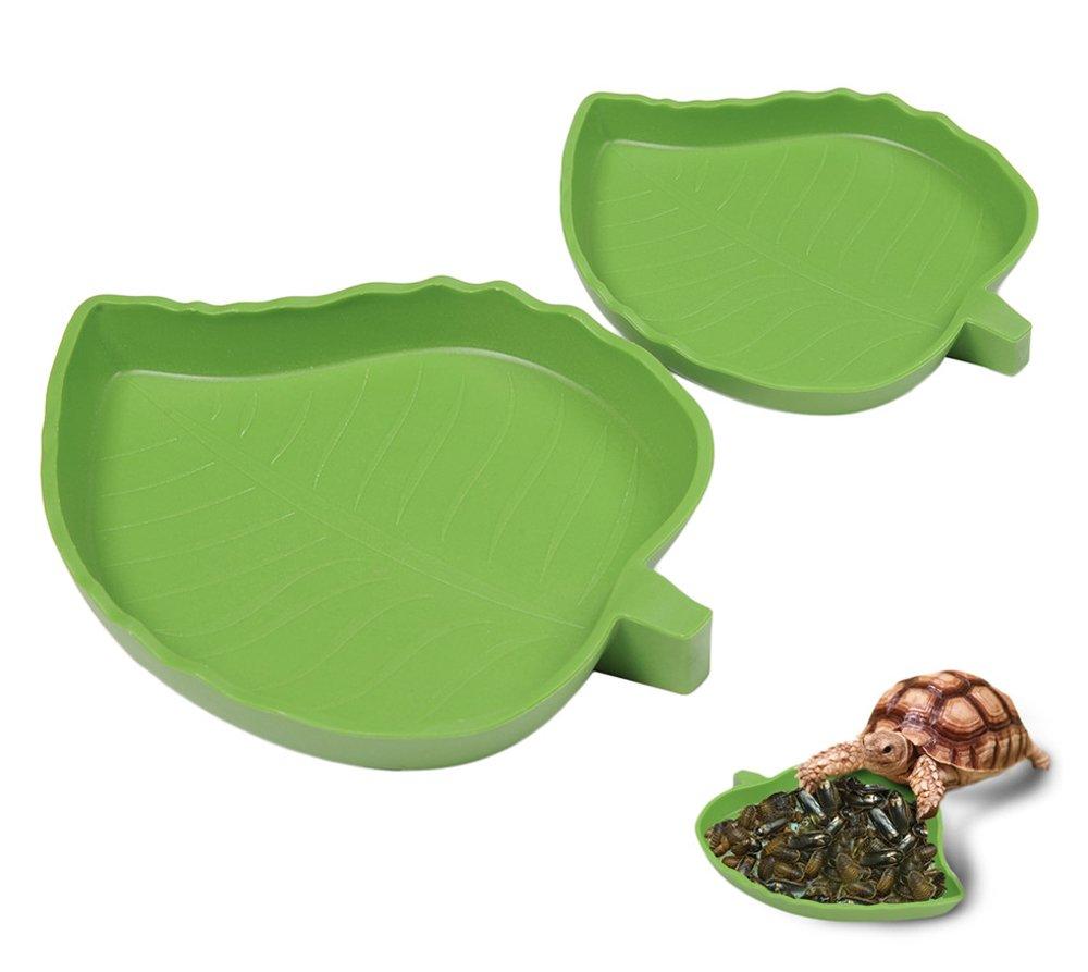 Yunt Pet Aquarium Ornament Leaf Reptile Food and Water Bowl Terrarium Dish Plate Supplies(Medium)