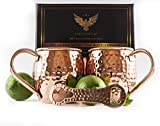 Copper Mugs Moscow Mule Set of 2 - 16 Oz With FREE Hammered Bottle Opener. 100% Pure Copper, FDA Approved Food Safe. In Luxury Gift Box from Americoppers
