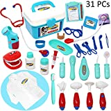 JOYIN Doctor Kit 31 Pieces Pretend-n-Play Dentist Medical Kit with Electronic Stethoscope and Coat for Kids Holiday School Classroom and Doctor Roleplay Costume Dress-Up