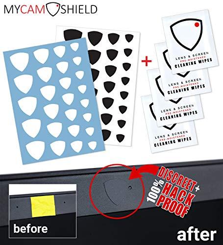 MyCamShield | White & Black (Matte) | 52 Vinyl Webcam/Camera Covers | Removable/Reusable | for Laptops, Desktops, Smartphones, Tablets, Smart TVs, Smart Home Devices | w/4 Lens/Screen Cleaning Wipes