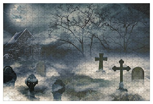 Jigsaw Puzzles - 500-Piece Halloween Themed Puzzles for Adults, Toy Puzzles, Cemetery Design, 1.31 x 1.96 Feet