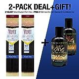 2-PACK DEALS ! Outre Remy Human Hair Weave Velvet Brazilian Perm Yaki + FREE GIFT Hair Oil (10S', 1B)
