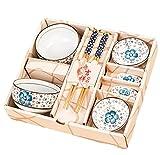 King Ma 8 Piece Floral Ceramic Tableware Japanese Dinnerware Set